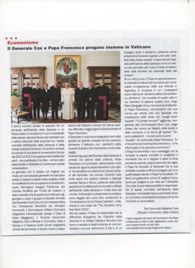 Il Generale Cox e Papa Francesco pregano insieme in Vaticano