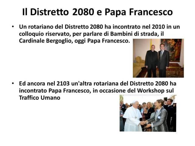 Il Distretto 2080 e Papa Francesco