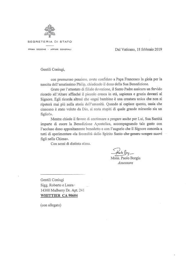 Benedizione di Papa Francesco per Philip